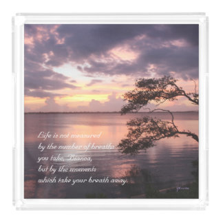 Life Is Not Measured Personalized Quote Sunset Acrylic Tray