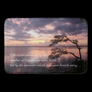 Life Is Not Measured Personalized Quote Sunset Bathroom Mat