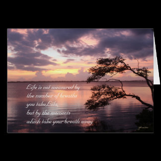 Life Is Not Measured Personalized Quote Sunset Card