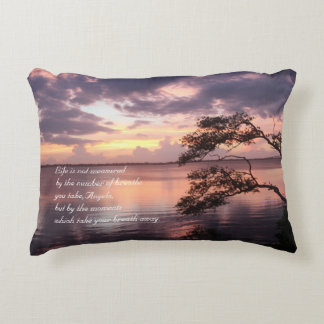 Life Is Not Measured Personalized Quote Sunset Decorative Pillow