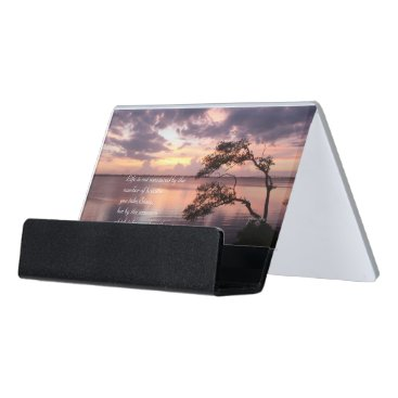 Beach Themed Life Is Not Measured Personalized Quote Sunset Desk Business Card Holder