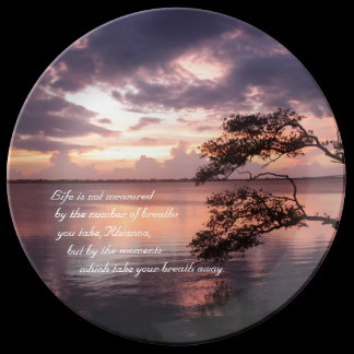 Life Is Not Measured Personalized Quote Sunset Dinner Plate