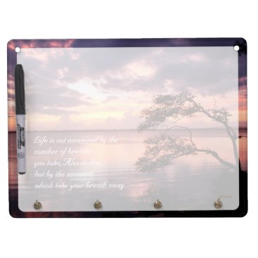 Beach Themed Life Is Not Measured Personalized Quote Sunset Dry Erase Board With Keychain Holder