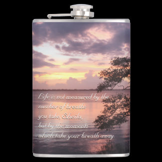Life Is Not Measured Personalized Quote Sunset Flask
