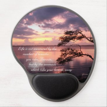 Beach Themed Life Is Not Measured Personalized Quote Sunset Gel Mouse Pad