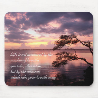 Life Is Not Measured Personalized Quote Sunset Mouse Pad