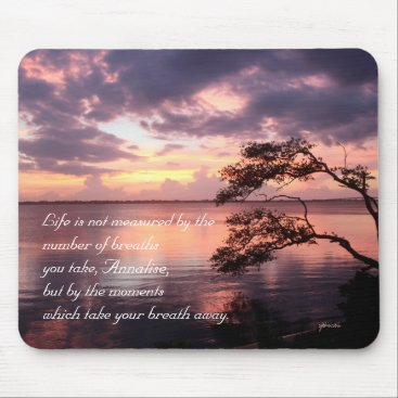 Beach Themed Life Is Not Measured Personalized Quote Sunset Mouse Pad