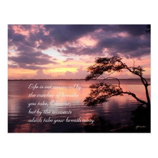 Life Is Not Measured Personalized Quote Sunset Postcard
