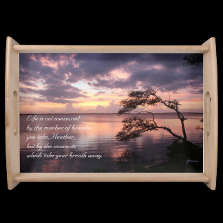 Life Is Not Measured Personalized Quote Sunset Serving Tray