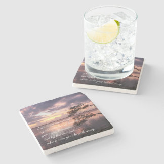 Life Is Not Measured Personalized Quote Sunset Stone Coaster
