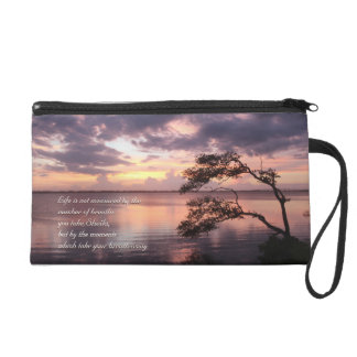 Life Is Not Measured Personalized Quote Sunset Wristlet Purse