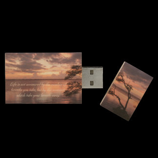 Life Is Not Measured Quote Sunset Wood USB Flash Drive