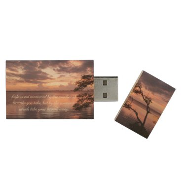 Beach Themed Life Is Not Measured Quote Sunset Wood USB Flash Drive