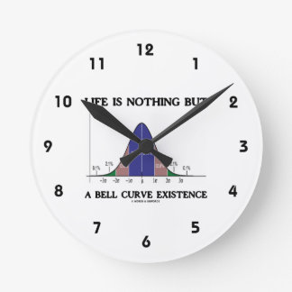 Life Is Nothing But A Bell Curve Existence (Stats) Round Wallclocks