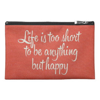 Life is Short Be Happy Red Canvas Travel Accessory Bag