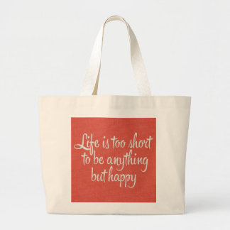 Life is Short Be Happy Red Canvas Canvas Bag