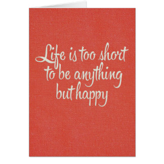Life is Short Be Happy Red Canvas Card