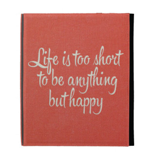 Life is Short Be Happy Red Canvas iPad Folio Covers