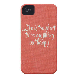 Life is Short Be Happy Red Canvas Case-Mate iPhone 4 Cases