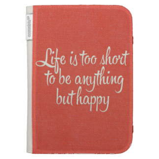 Life is Short Be Happy Red Canvas Case For Kindle