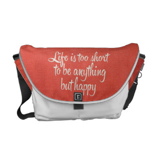 Life is Short Be Happy Red Canvas Commuter Bag