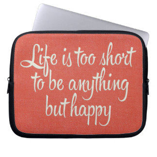 Life is Short Be Happy Red Canvas Computer Sleeve