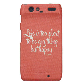 Life is Short Be Happy Red Canvas Droid RAZR Cover