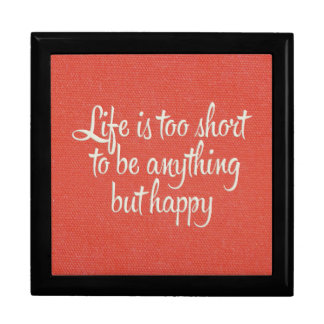 Life is Short Be Happy Red Canvas Gift Boxes