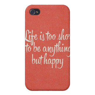Life is Short Be Happy Red Canvas iPhone 4 Covers