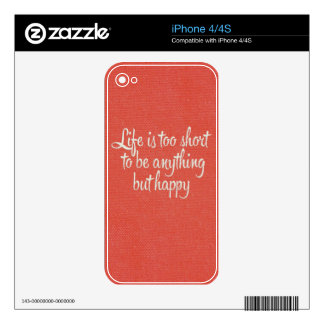 Life is Short Be Happy Red Canvas iPhone 4S Decal