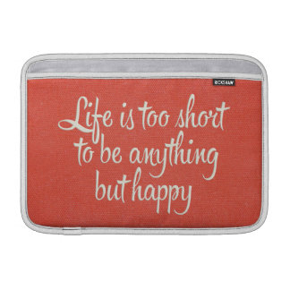 Life is Short Be Happy Red Canvas MacBook Sleeves