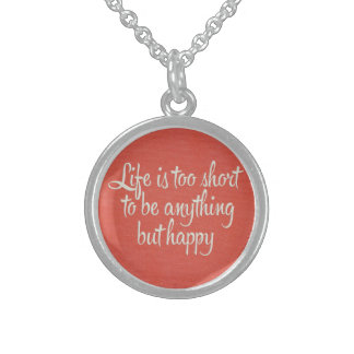 Life is Short Be Happy Red Canvas Necklace