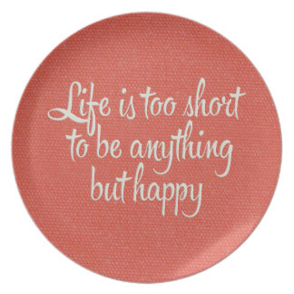 Life is Short Be Happy Red Canvas Party Plates