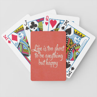 Life is Short Be Happy Red Canvas Bicycle Poker Cards