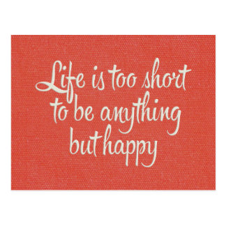 Life is Short Be Happy Red Canvas Postcard