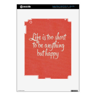 Life is Short Be Happy Red Canvas Skin For iPad 3
