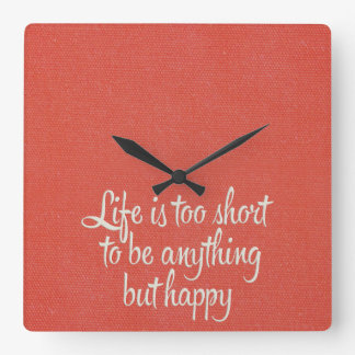 Life is Short Be Happy Red Canvas Wall Clock