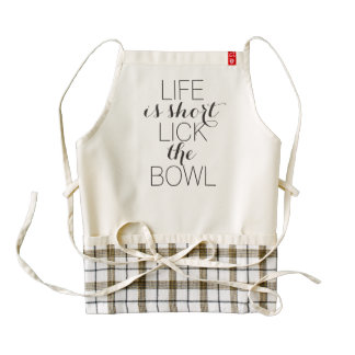 Life is short lick the bowl funny baking humor zazzle HEART apron