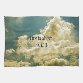 Life is short, Live it Quote Hand Towels
