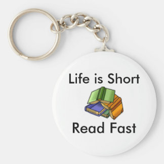 Life is Short, Read Fast Basic Round Button Keychain