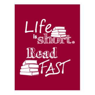 Life is Short, Read Fast Postcard