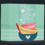 """Life Is Short Recipe Binder<br><div class=""""desc"""">This fun recipe binder is perfect for any baker,  chef,  or chocolatier in your family. Personalize with your own name on the bowls.</div>"""