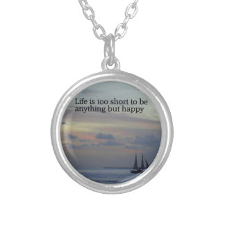 Life is Short Round Pendant Necklace