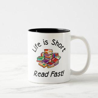 Life is Short Two-tone Mug, 6 colors, 2 sizes Two-Tone Coffee Mug