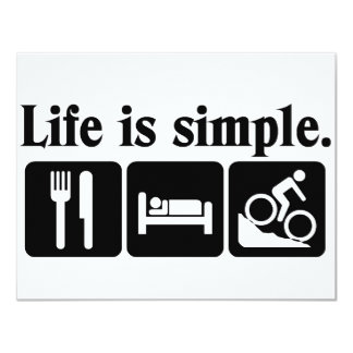 Life is simple, bike 4.25x5.5 paper invitation card