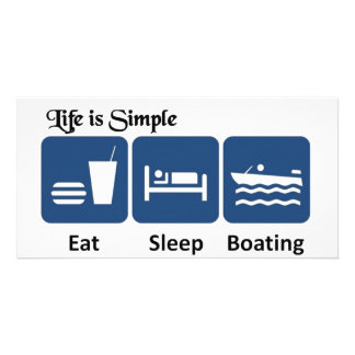 Life is simple, boating photo card