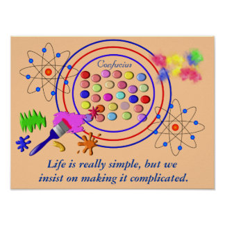 Life is simple - confucius quote poster