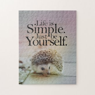 Life Is Simple Cute Hedgehog Inspirational Quote