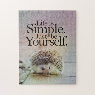 Life Is Simple Cute Hedgehog Inspirational Quote Jigsaw Puzzle