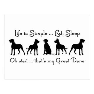 Life is Simple Eat Sleep Great Dane Dog Humour Postcard